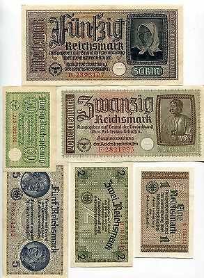 Germany WW2 Occupation Full Set 6 Banknotes 1940 - 1945 XF Condition !!!