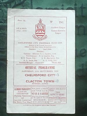 Chelmsford City v Clacton Town 13th Sep 1958 Southern League programme