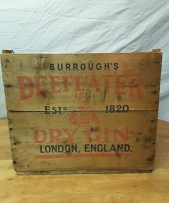 Vintage BEEFEATER DRY GIN 12 Bottle Wood Packing Crate Wooden Liquor Box