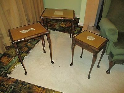 Vintage ? Antique ? Nest Of 3 Oak ? Wooden Coffee Tables  With Leather ? Tops