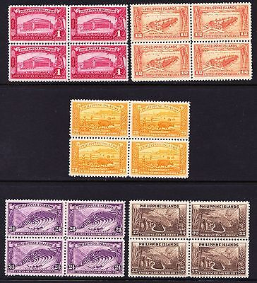 Philippines 1935 Landscapes  - Five mint hinged blocks of 4 - (147)