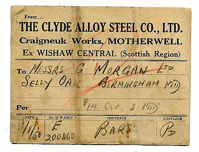 Clyde Alloy Steel Co Ltd Motherwell wagon label 1950