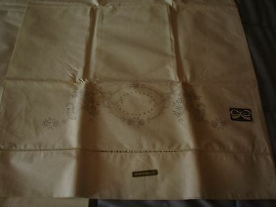 Vintage Unfinished Stamped Linen Pillowcases Blue Ribbon Thread Drawn Hems