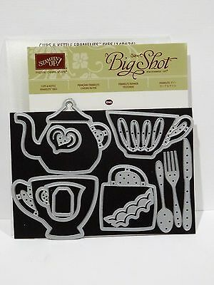Stampin Up CUPS AND KETTLE framelits Dies tea coffee spoon Matches Nice Cuppa