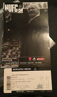 Newcastle United - promotion season v Reading  15/08/2009 With Ticket