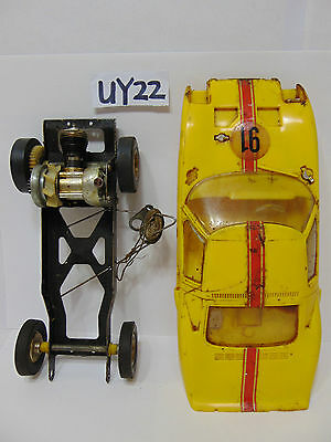 Vintage Cox Gt-40 Ford Tether Yellow Gas Car #91 Body-Frame-Motor-Wheels
