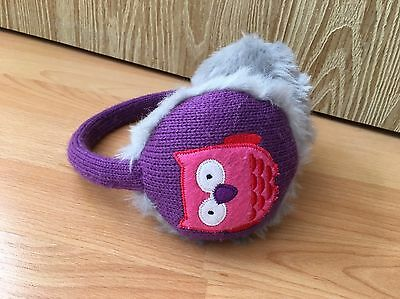 Purple/Grey Furry Ear Muffs With Owl Picture