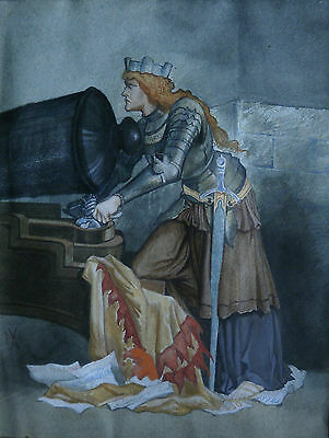 January Sale 19Th Century Watercolour Joan Of Arc With Cannon Mystery Monogram