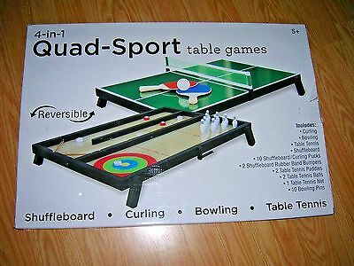 New Westminster 4 In1 Quad Sport Table Games Shuffleboard Curling Bowling Tennis