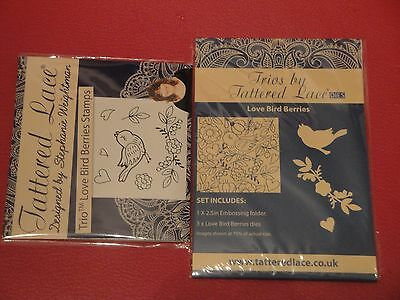 Tattered Lace - Trio - Love Bird Berries - stamps, dies and embossing folders