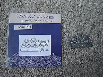Tattered Lace - 5 mini Die cutters: 3 x butterflies, Celebrate, Candle (New)