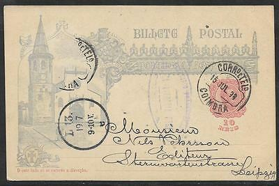 PORTUGAL - 10r ILLUSTRATED POSTAL STATIONERY CARD - USED COIMBRA TO LEIPZIG 1898