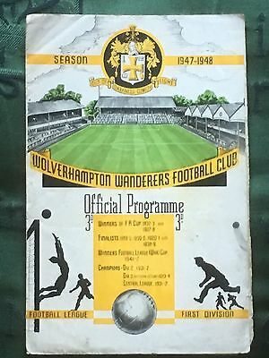 Wolverhampton Wanderers v Grimsby Town 27th Aug 1947 Division 1 programme
