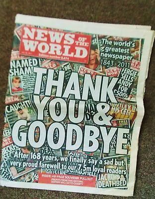 Vintage newspaper News of the World final edition.