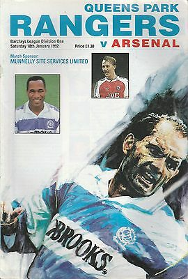 QPR v Arsenal - Official Programme Division One Jan 1992