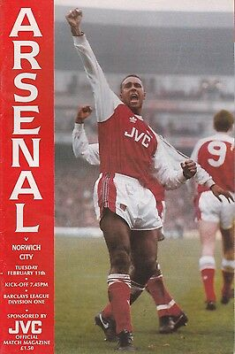Arsenal v Norwich City - Official Programme Division One Feb 1992