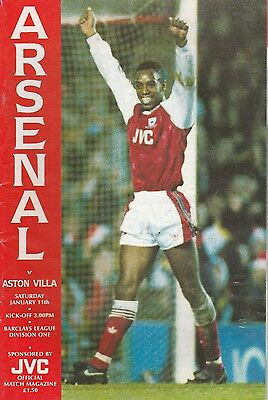 Arsenal v Aston Villa - Official Programme Division One Jan 1992