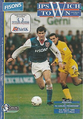 Ipswich Town v Arsenal - Official Programme Premiership March 1994