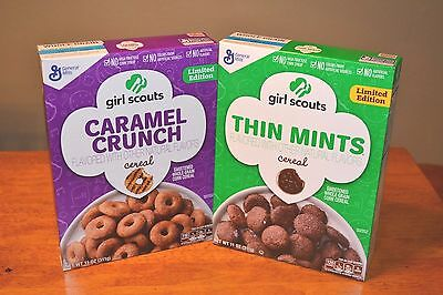 Girl Scout Cookie Cereal Thin Mint & Caramel Crunch Limited Edition 2017