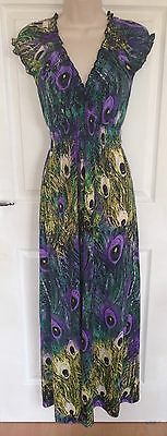STELLA ladies summer peacock print maxi dress size S 8-10