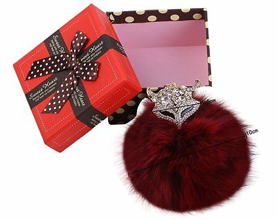 NEW!  Faux Fox Fur Ball Pearl Rhinestone Key Fob Purse Decoration Wine Red