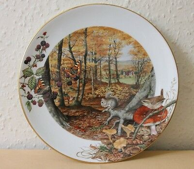Royal Worcester The Colours Of Autumn In October Plate Peter Barrett Squirrel