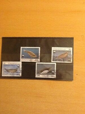 TURKMENISTAN (01/5) 1993 WWF Seal  Animals Used 4 diff. Stamps !