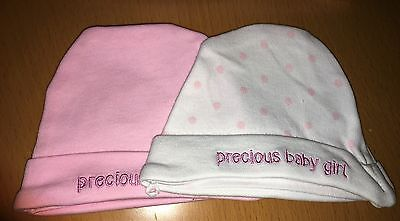 Premature / Tiny Baby Cotton Hats - Twin Pack  Pink or Blue