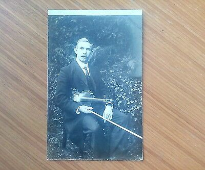 Vintage* Edwardian gentleman, seated with Violin and Bow. December 20th 1905.