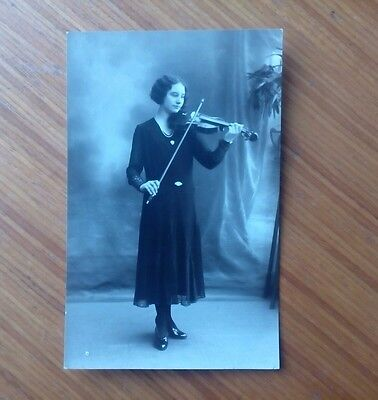 Vintage* Lady with Violin and Bow. No date. Unposted. Possibly French (?).