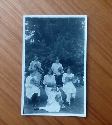 Vintage* Six young ladies with Violins and Bows. Percy Simms. Chipping Norton.