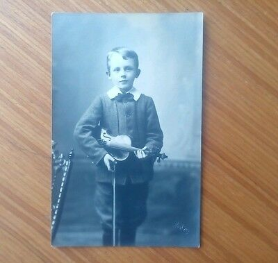 Vintage* Boy with Violin and Bow. Edwardian. Imprinted : Reston or Roston (?).