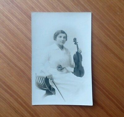 Vintage* Lady with Violin and Bow. J. Harrison, Imperial Studio Nelson.