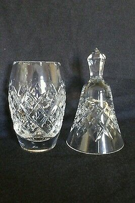 Crystal cut glass vase and bell