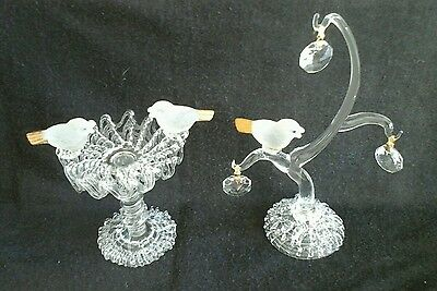 Pair of glass birds ornaments