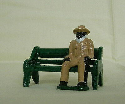 Old Black Man seated on a bench, G scale train figure, Grey Iron Reproduction