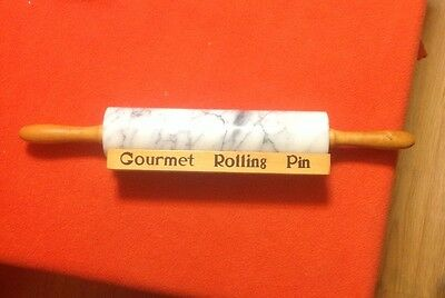 """Gourmet Kitchen White Gray Marble Rolling Pin with Wooden Cradle Stand 10"""""""
