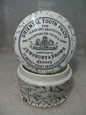 Large Jewsbury & Brown Chemists Oriental Tooth Paste Pot Lid And Base