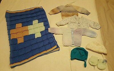baby boys hand knitted cardigans jumper blanket 0-3 months