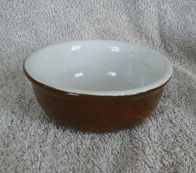 1940s HALL Pottery Small 4-1/2in. Brown and White Glazed Bowl (bottom marked)