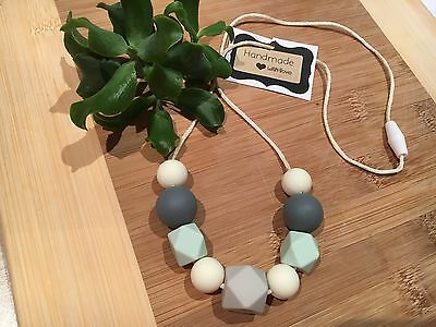 Silicone Sensory Baby (was teething) Necklace for Mum Jewellery Beads Aus Mint