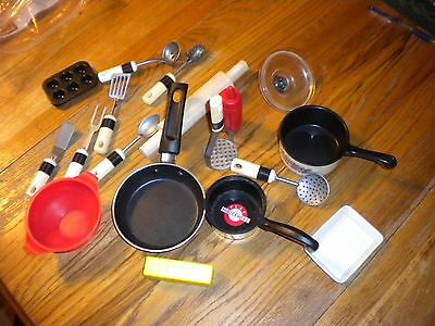 Childs Toy Dishes Mixed Lot Pots Pans Utensils Rolling Pin & More