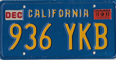 Authentic Classic 1980 California Blue Gold License Plate # 936 Ykb Very Nice