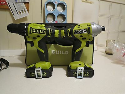 Guild 18v Hammer Drill plus Impact Driver with 2x 1.5ah batteries. NEW