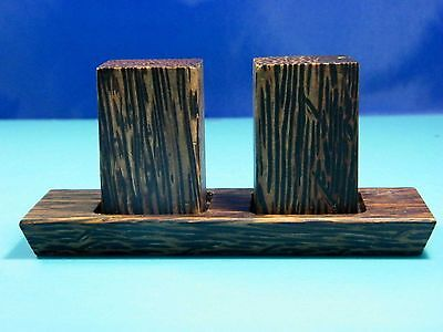 Collectible Palm Wooden Long Cubic Style On Tray Salt & Pepper Shaker Set