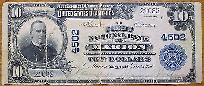 1902 $10 First National Bank Marion Illnois Plain Back Vf Split Ch 4502