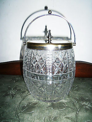 Fine Victorian Cut Crystal And Silver Over Brass Biscuit Jar