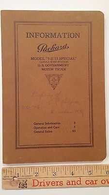 "1917  PACKARD -""3-E 13 Special"" US Gov't Truck - Owners Manual Ex to Mint - (US)"