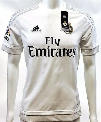 Adidas Youth Real Madrid Replica Soccer Jersey 2015-16, White/Clear Gray, XLarge