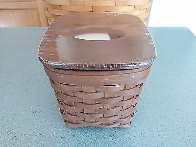 Longaberger Tall Tissue Basket in Vintage stain with protector & lid  NEW